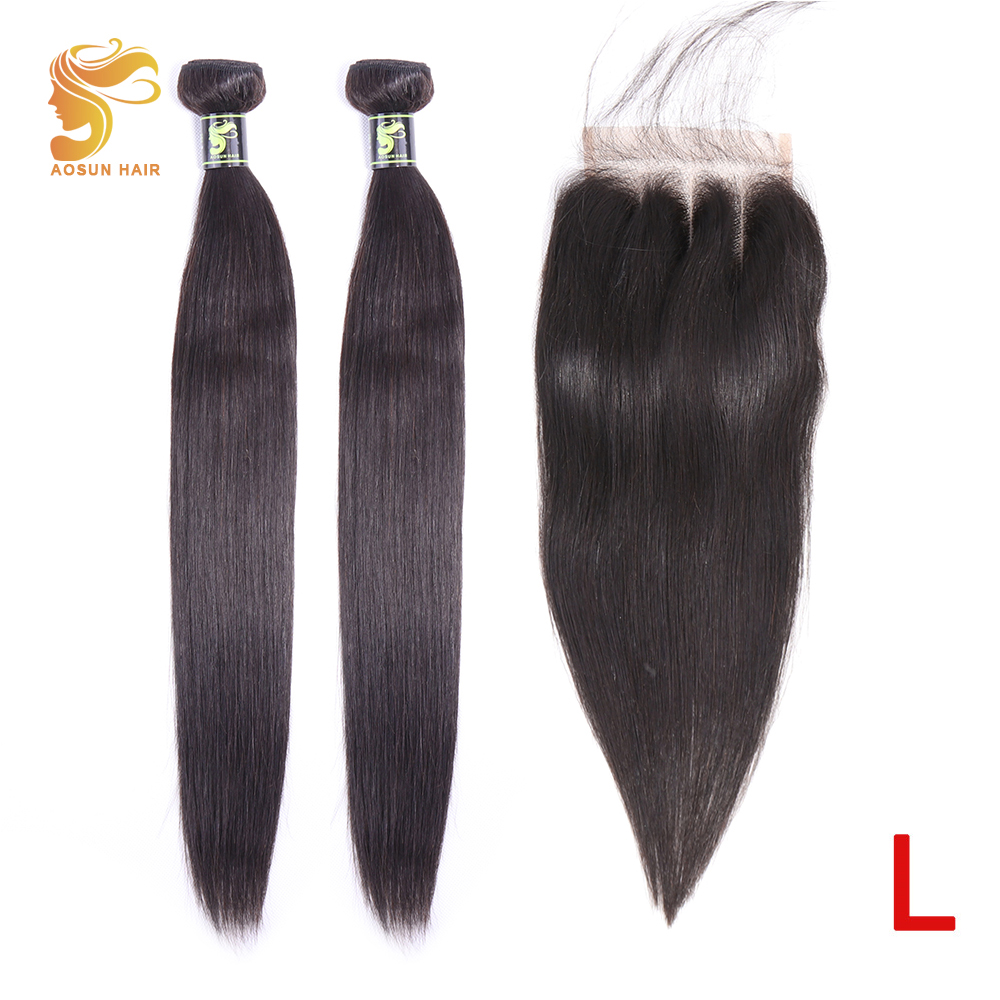 AOSUN HAIR Brazilian Hair Weave Bundles Straight Bundles With Closure 100% Remy Human Hair Extensions 8-26inches Natural Color