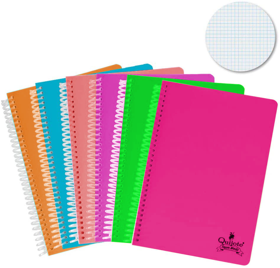 Quixote Paper World Pack 6 Notebook spirals, with grid, 4x4mm, plastic cap, 80 Leaves, 90g, A5 & A4 school Use