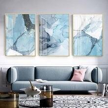 Современная абстракция синяя мраморная текстура холст картины