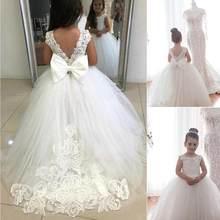 Bridalee kość słoniowa aplikacje tiul Bowknot suknia kwiat dziewczyny sukienka na wesele urodziny bez rękawów słodkie dzieci