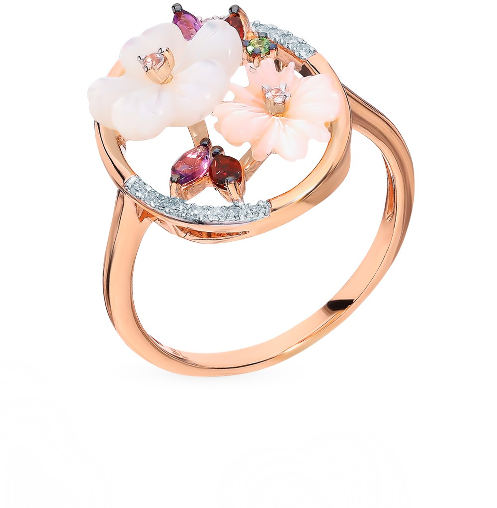Gold Ring With Sapphires, Amethyst, Garnet, Mother Of Pearl, цаворитами And Diamonds Sunlight Sample 585