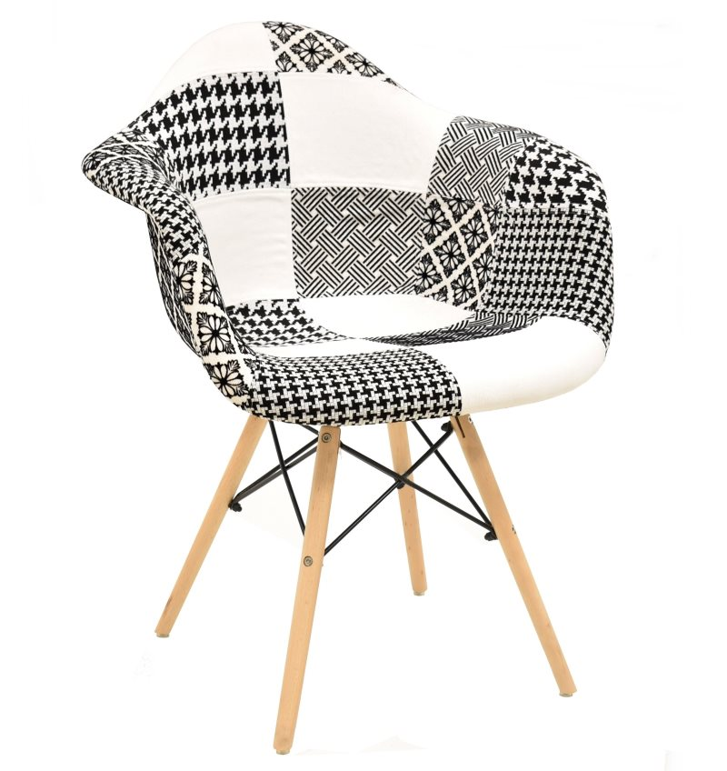 Armchair TOWER, Wood, Fabric Patchwork Combi Bgn