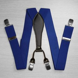 Подтяжки для брюк широкие (3.5 см, 4 клипсы, Синий) 53721