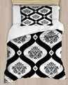 다른 blakc 화이트 오스만 민족 다마 라인 4 조각 3d 인쇄 코튼 새틴 싱글 이불 커버 침구 세트 베개 커버 침대 시트