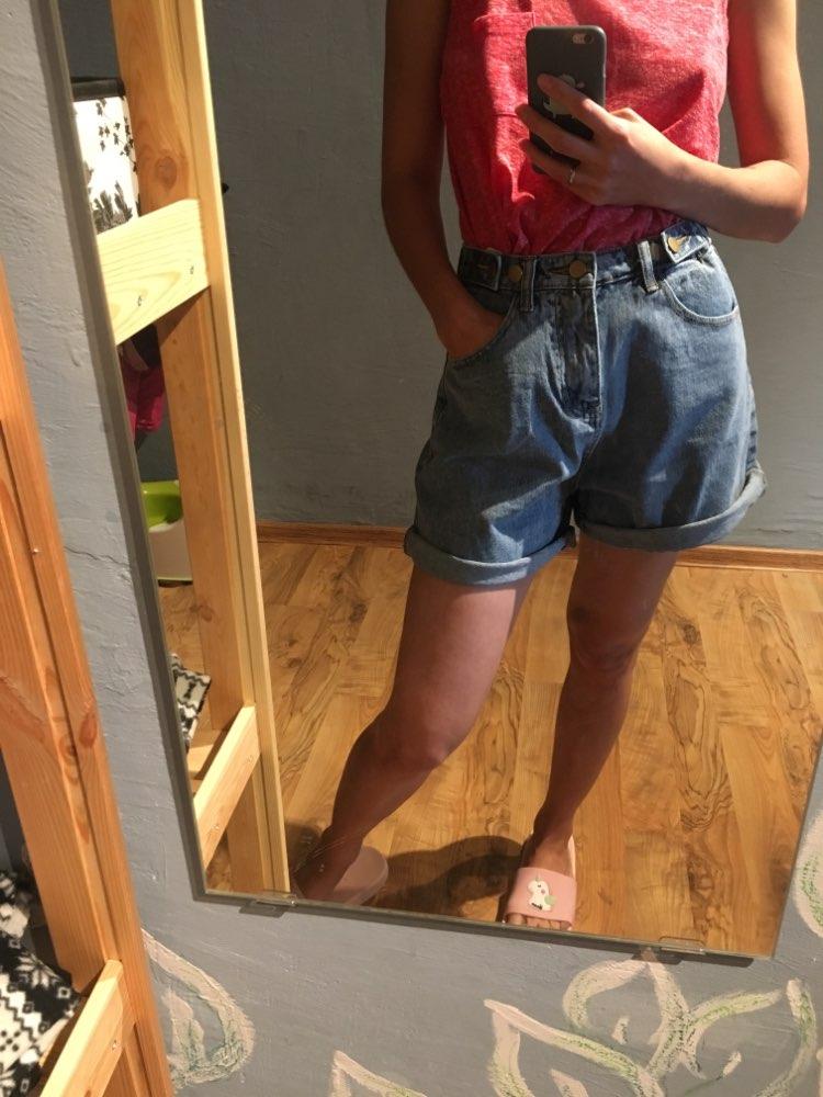 S 5Xl Plus Size Women'S Shorts High Waist Shorts Women Casual Minimalism Denim Shorts Summer Fashion Jean Short Pants Women photo review