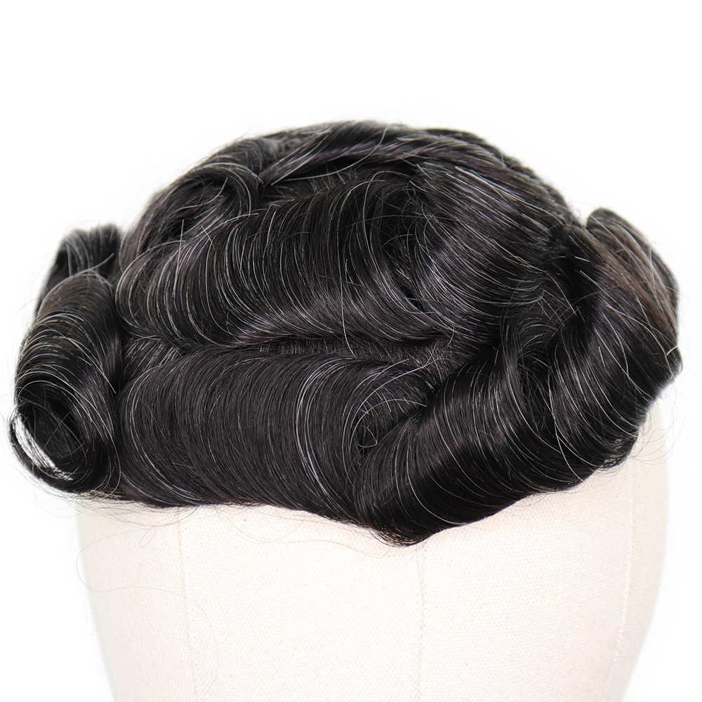 YY парики 1B 20% 8x10 кожа ПУ человеческие волосы парик для мужчин натуральный черный смешанный серый волос заменить мужчин t Система 6 дюймов Длина шиньон