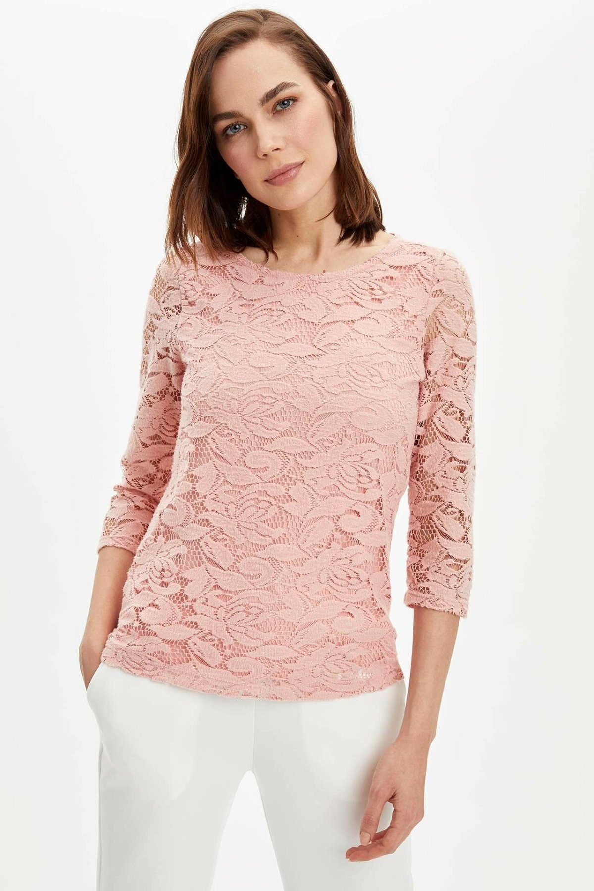 DeFacto Woman Long Sleeve T-Shirt Women Lace T-Shirts -N7580AZ20SP
