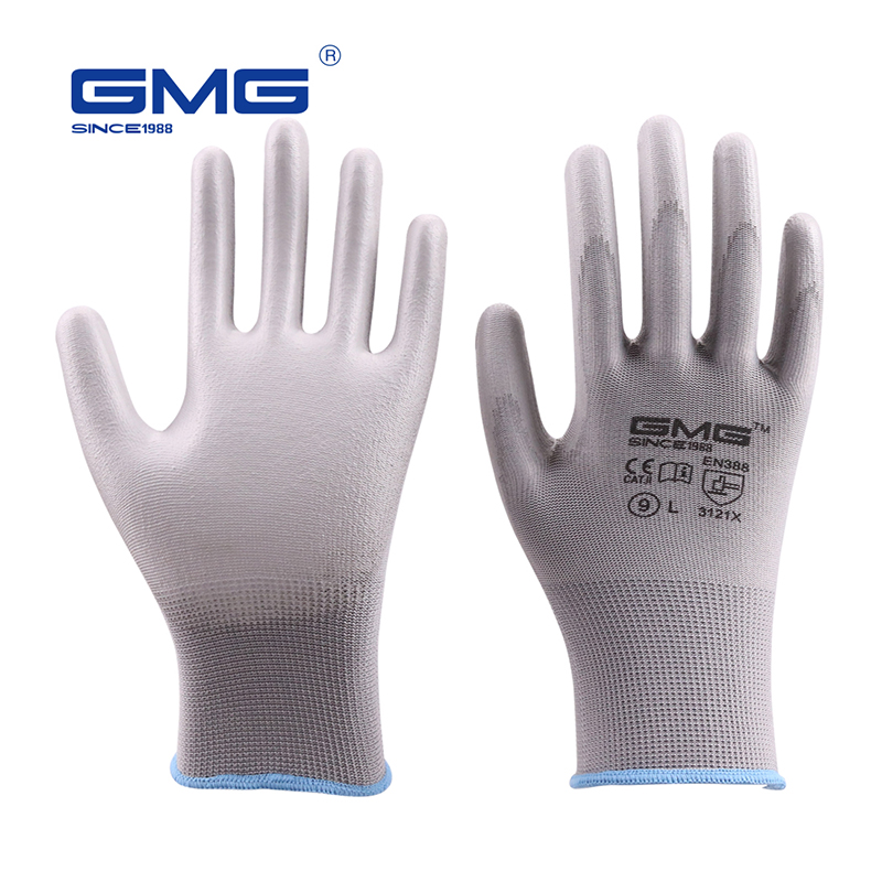 6 Pairs/Lot Working Safety Gloves GMG Grey Polyester Shell Grey PU Coating Work Safety Gloves Hand Gloves Mechanic