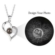 AILIN تخصيص صور قلادة قلادة المرأة رومانسية مجوهرات الزفاف 100 لغات أحبك صور قلادة هدية الكريسماس