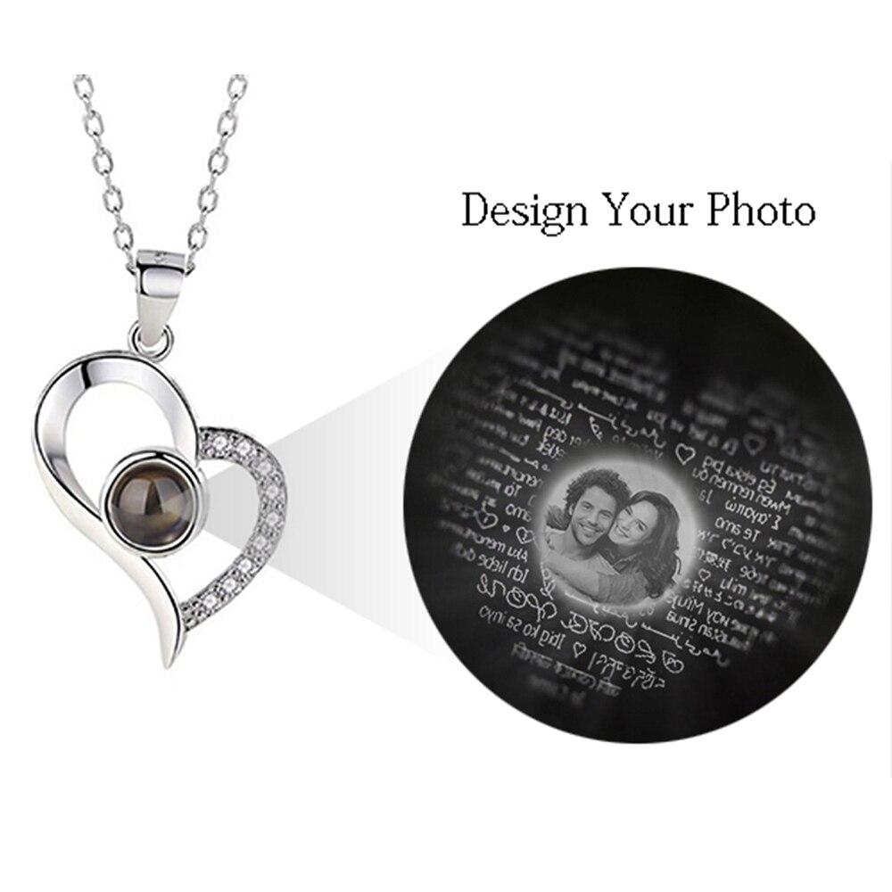 AILIN personnaliser Photo Projection pendentif collier romantique amour mémoire collier de mariage 100 langues je t'aime collier