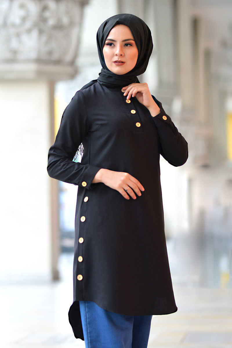 Girocollo Button Tunik TSD1041 Nero