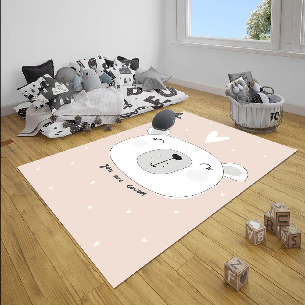 Else Pink White Heart Bear Stars Girl Nordec Girls 3d Print Non Slip Microfiber Children Baby Kids Room Decorative Area Rug Mat