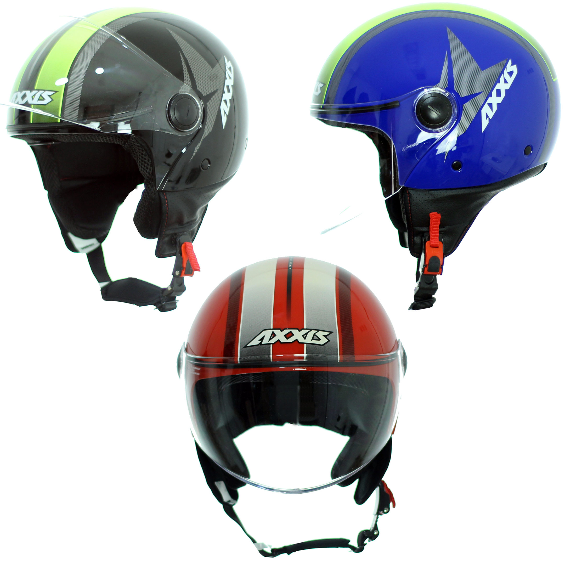 Axxis Square Flag-moto jet helmet with transparent visor, for road. Sizes XS-XL. Motorcycle, Unisex