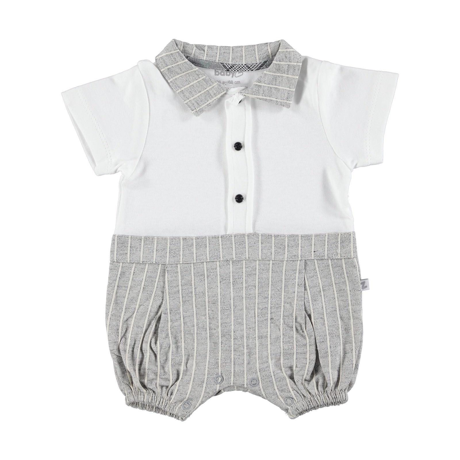 Ebebek BabyZ Striped Polo Neck Texture Short Romper