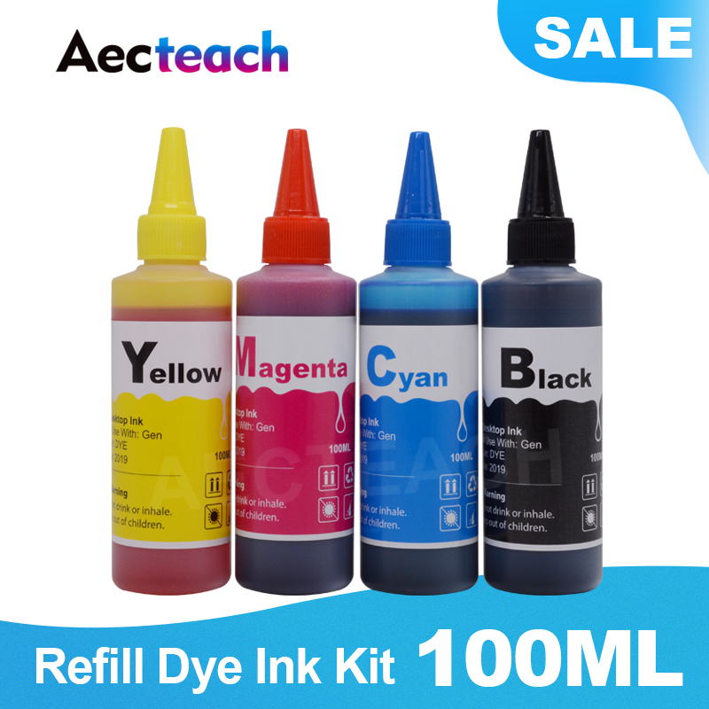Aecteach 100ml Bottle Ink <font><b>Refill</b></font> <font><b>Kit</b></font> For <font><b>HP</b></font> 122 123 121 301 302 304 300 650 <font><b>652</b></font> 140 141 21 22 XL Printer Ink Cartridge Ciss Dye image