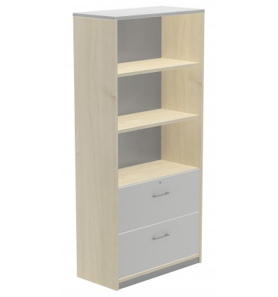 HIGH CABINET CARPETERO 195x90x45 STRUCTURE BEECH/FRONT GRAY