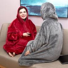Толстовка с капюшоном одеяло рукавами Женские флисовые пальто