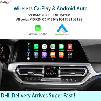 Wireless Apple CarPlay Android Auto for BMW F20 F21 F22 F23 F30 F31 F32 F33 F34 F36 F01F56 EVO NBT CIC System Screen Mirrorlink image