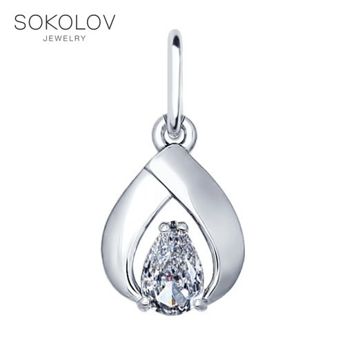 Pendant SOKOLOV Silver With Cubic Zirconia Fashion Jewelry 925 Women's Male