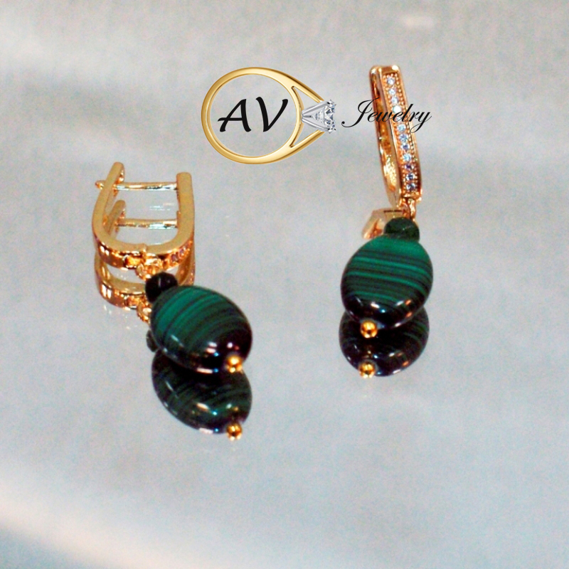Boucles d'oreilles en argent Sterling Malachite 925 boucles d'oreilles goutte ronde pour femmes naturel vert gemme AV bijoux