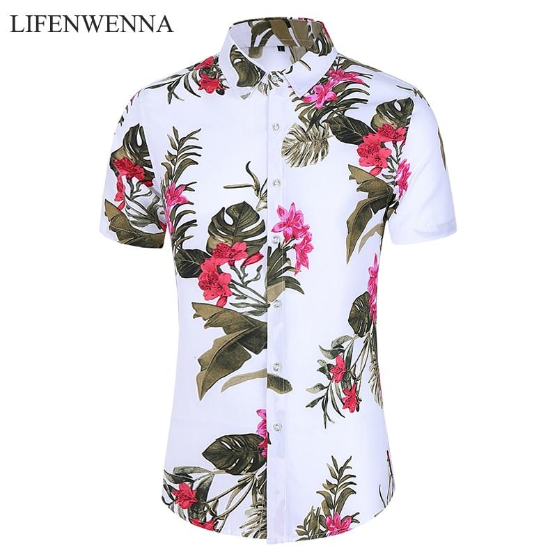 Summer Flower Shirt Men 2020 New Fashion Printed Short Sleeve Shirts Mens Casual Big Size 5XL 6XL 7XL Hawaii Beach Shirts Man