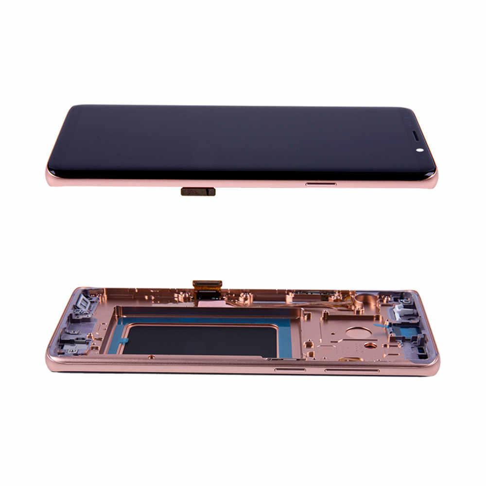 أوري لسامسونج غالاكسي S8 + s9 plus مع إطار حرق العيون سوبر AMOLED عرض مع مجموعة المحولات الرقمية لشاشة تعمل بلمس استبدال