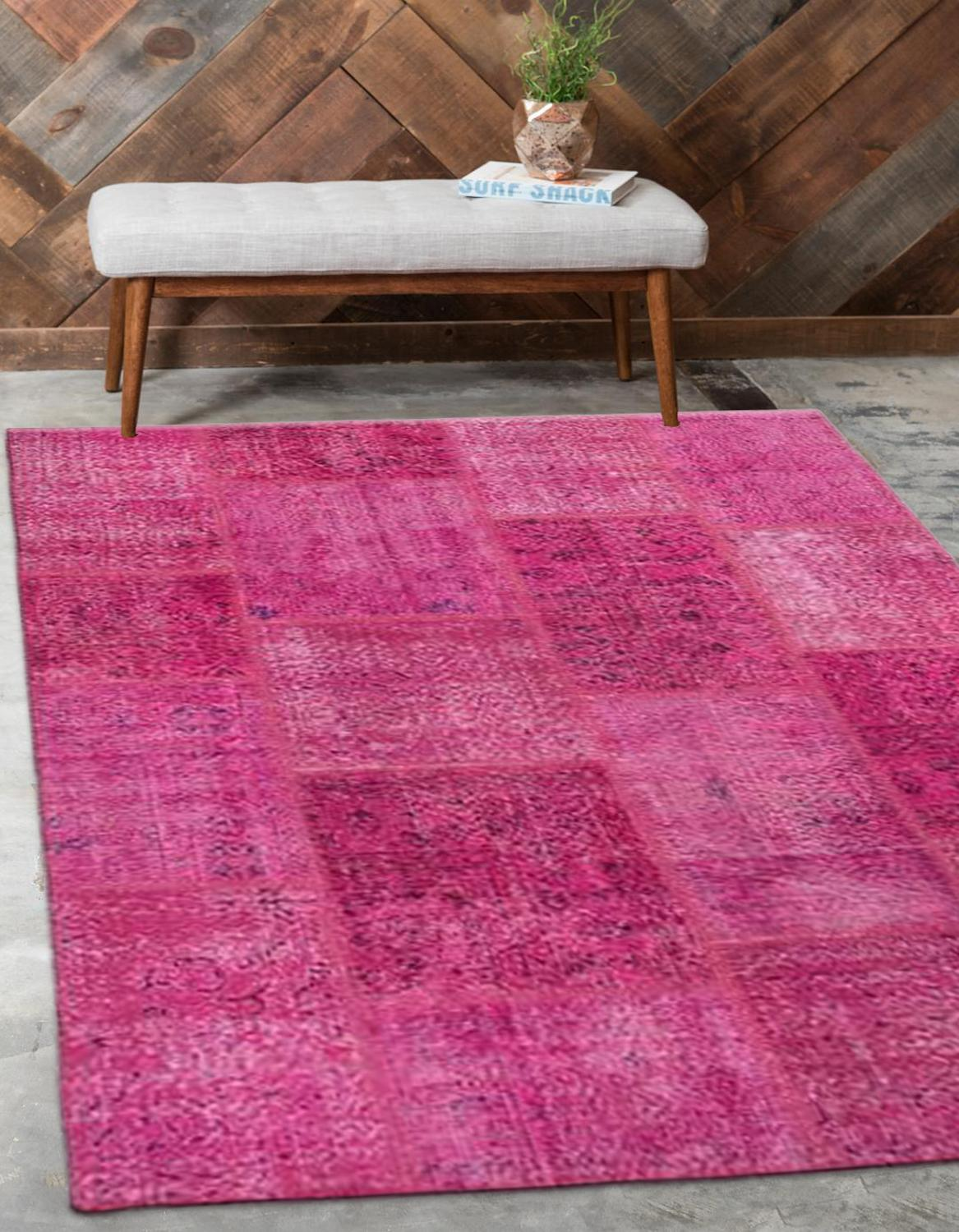 Else Pink Anatolian Patchwork Rug Turkish Handmade Organic Area Rug Decorative Home Decor Wool Patchwork Rug Carpet