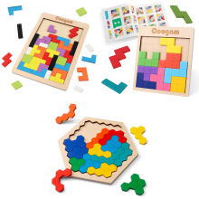 Coogam Wooden Tangram Puzzle Brain Teasers Game Honeycomb Shape, 3D Russian Building Toy Wood Shape Puzzles Toys Gift for Kids
