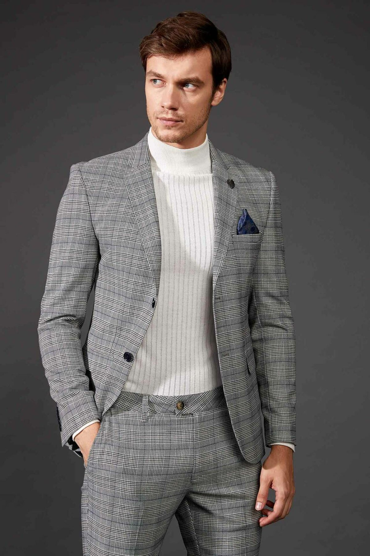 DeFacto New Luxury Men Blazer Fashion Brand High Quality Plaid Pattern Slim Men Suit Blazers Men Spring Autumn - L6876AZ19AU