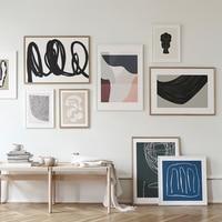 مجردة الاسكندنافية البيج العصرية الألوان الحد الأدنى خط قماش اللوحة المشارك طباعة صور فنية للجدران غرفة المعيشة ديكور المنزل