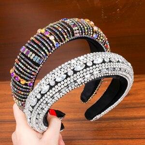 Image 5 - LEVAO barokowy Rhinestone wyściełany pałąk Hairband dla kobiet błyszczące kryształowe szerokie grube włosy Hoop głowy Bezel włosy owinięcie akcesoria
