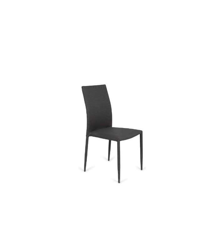 Pack 6 Chairs Upholstered In Fabric Anthracite Gray Model Vigo.