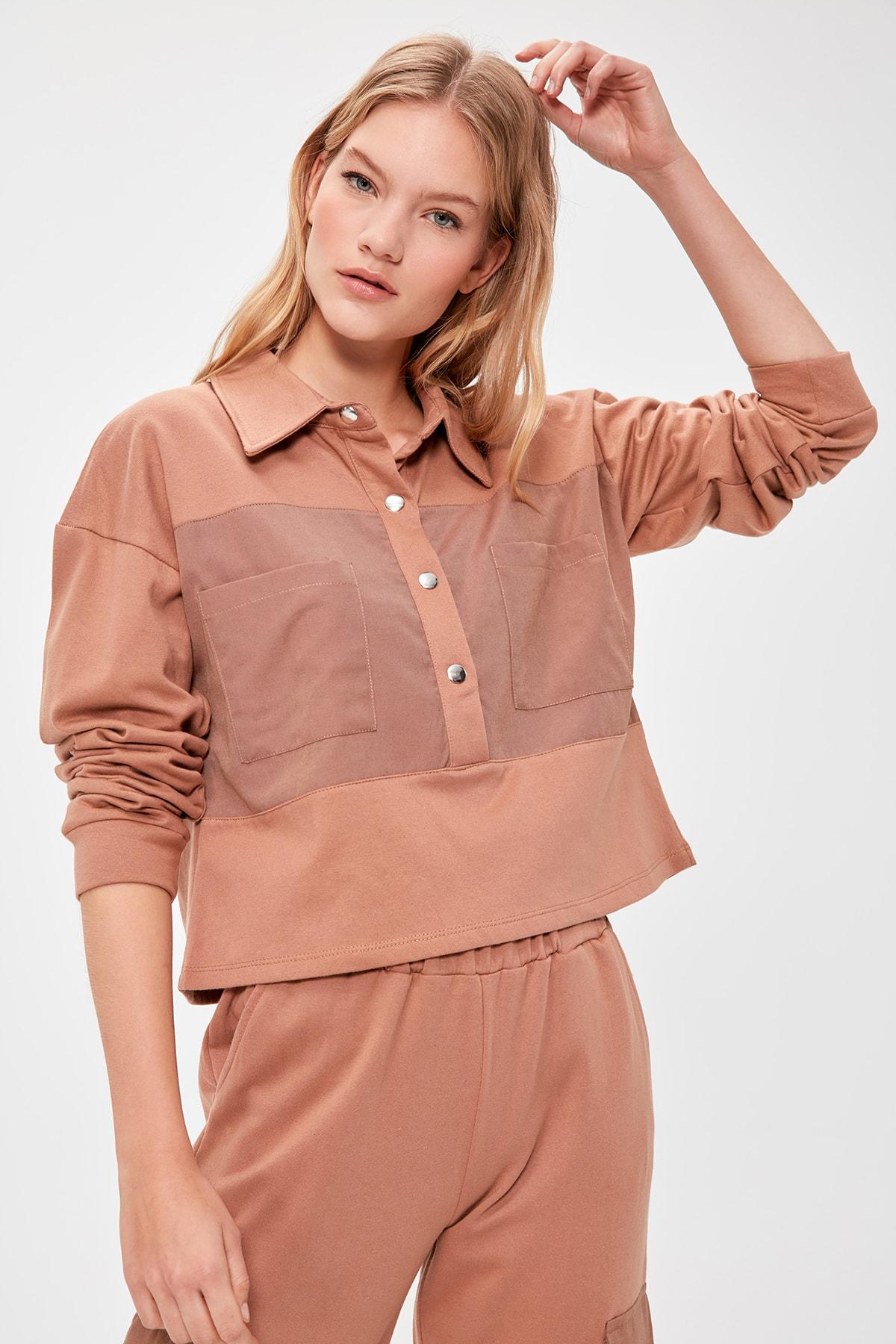Trendyol Woven Detailed Knitted Sweatshirt TWOAW20SW0554