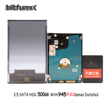 Bitfunx FMCBการ์ด8MB/16MB/32MB/64MBสำหรับUSBเกม + 2.5 500GB SATA HDDสำหรับPS1 945เกม + โปร่งใสสีดำSATA HDD
