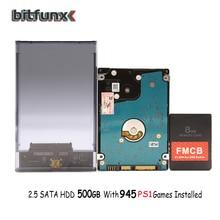 "Bitfunx FMCB 카드 USB 게임용 8MB/16MB/32MB/64MB + 2.5 ""500GB SATA HDD PS1 용 945 게임 + 투명 검정색 SATA HDD 케이스"