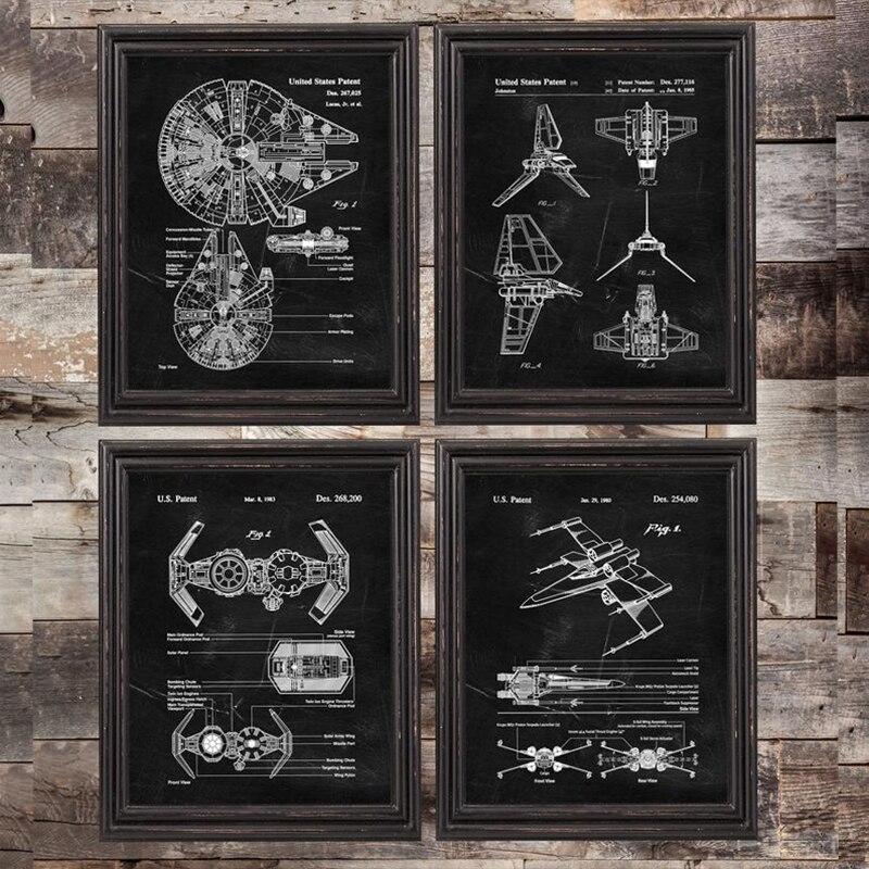 Звездные войны X Wing, патентный Синий принт, холст, декор для комнаты для мальчиков, Звездные войны, подарок, винтажный постер, художественная картина в стиле стимпанк, украшение|Рисование и каллиграфия|   | АлиЭкспресс