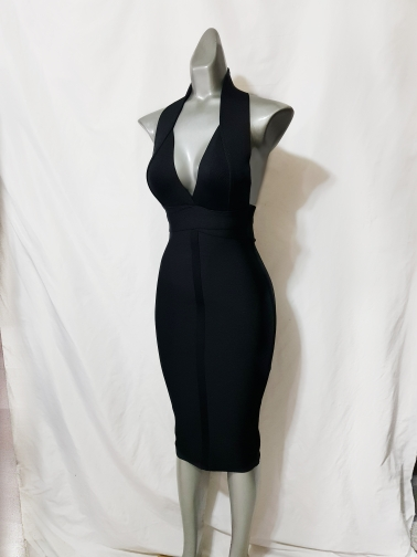 High Quality Pink V Neck Backless Bodycon Rayon Bandage Dress Sexy Club Party Dress photo review