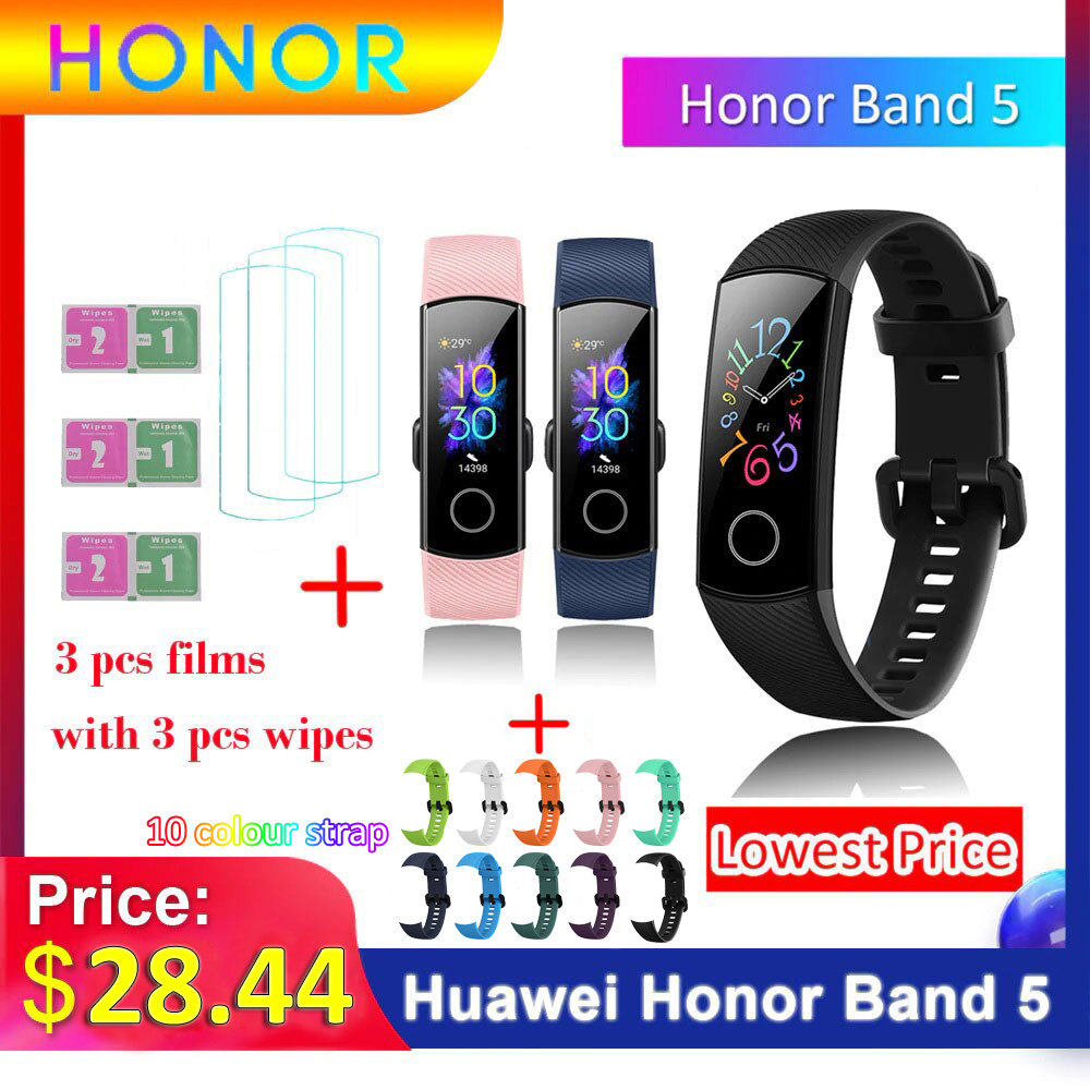 Global Version Huawei Honor Band 5 Smart Bracelet Better Than Honor Band 4 BT 4.2 Heart title=