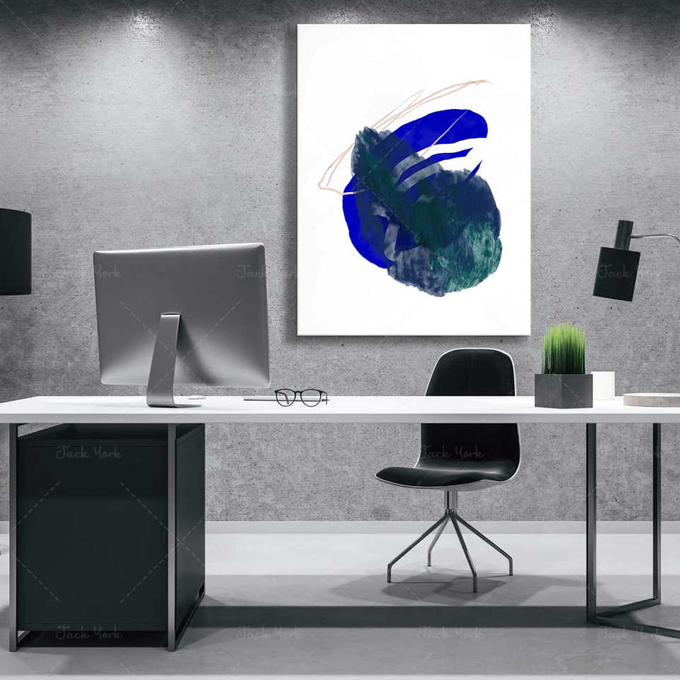 Illustration Abstraite A Imprimer Bleu De Steve Klein Composition Graphique Bleu Majorelle Conception De Decoration De La Maison Art Mural Aliexpress