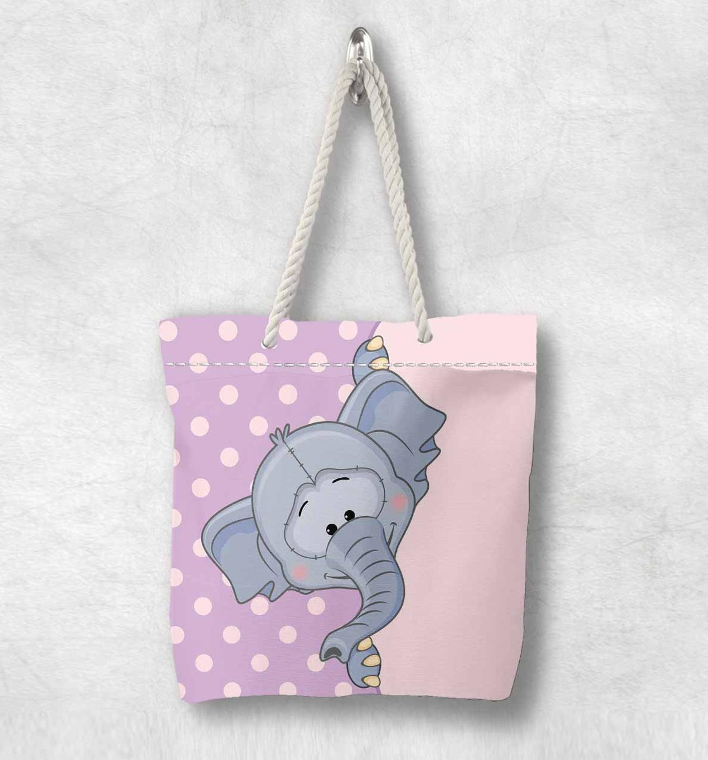 Else Purple Floor White Dot Gray Elephant New Fashion White Rope Handle Canvas Bag Cotton Canvas Zippered Tote Bag Shoulder Bag
