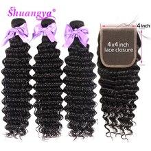 Shuangya Hair Brazilian Deep Wave Bundles With Closure 4x4 Closure With Bundles Remy 100% Human Hair 3/4 Bundles With Closure
