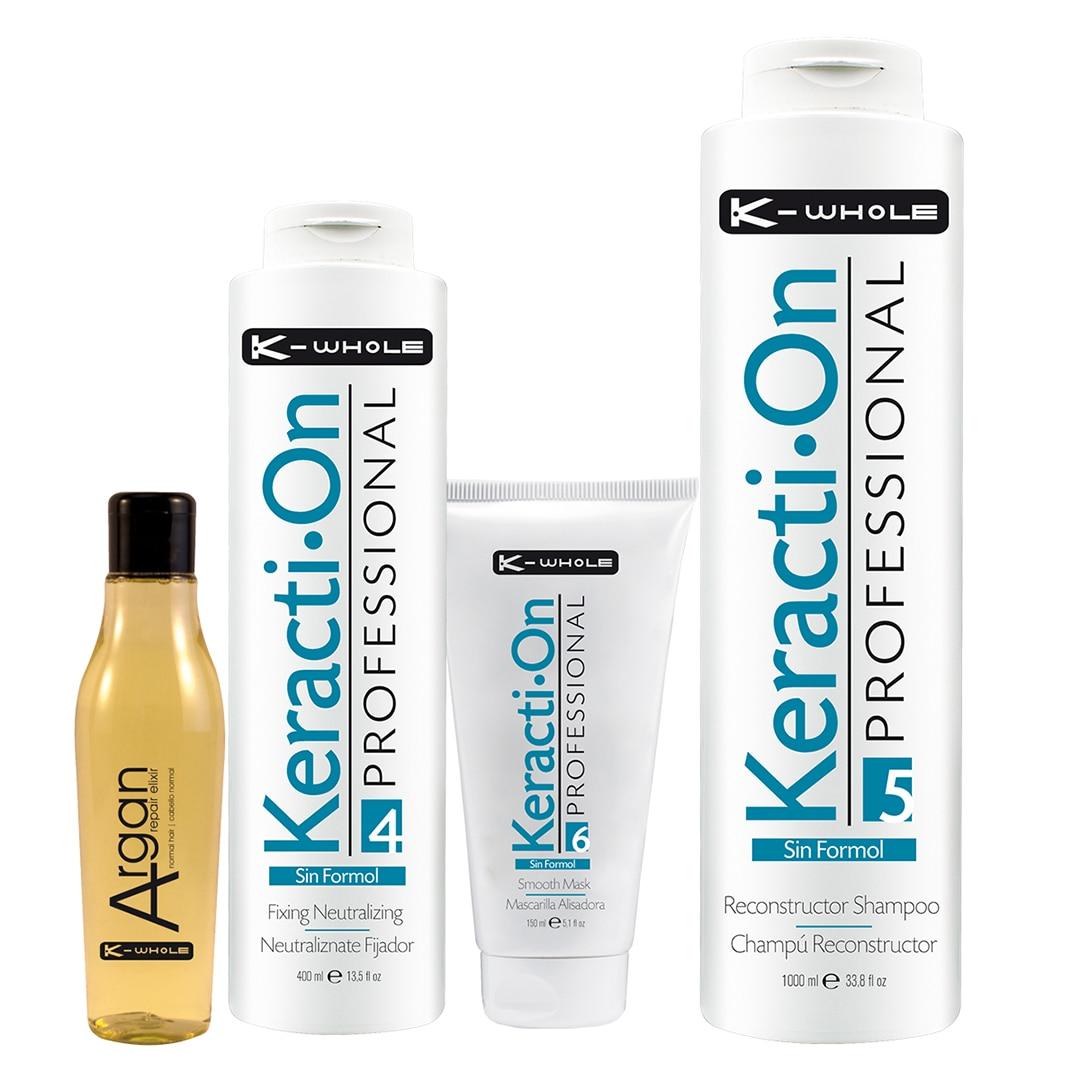 Pack K-WHOLE-Oil Argan Sublime Fine Hair, Neutralizante, Mask, Sampoo Reconstructor Keratin-Hair Treatment