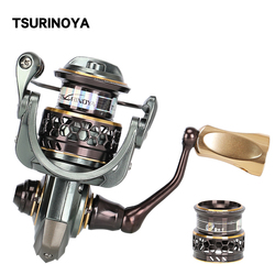 TSURINOYA Spinning Fishing Reel JAGUAR 1000 Double Spools Ultralight Spinning Reel 9+1BB Small Bait Lure Bass Trout Reel Coil