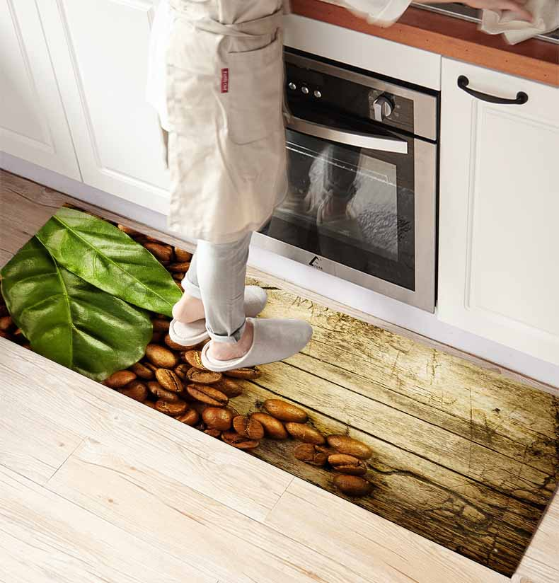 Else Brown Wood On Coffee Beans Leaves  3d Print Non Slip Microfiber Kitchen Counter Modern Decorative Washable Area Rug Mat