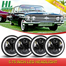 "Haolide carro da motocicleta led luz 85w 5 3/4 ""5.75"" polegadas led projetor farol drl angel eye motor bicicleta cabeça luzes"