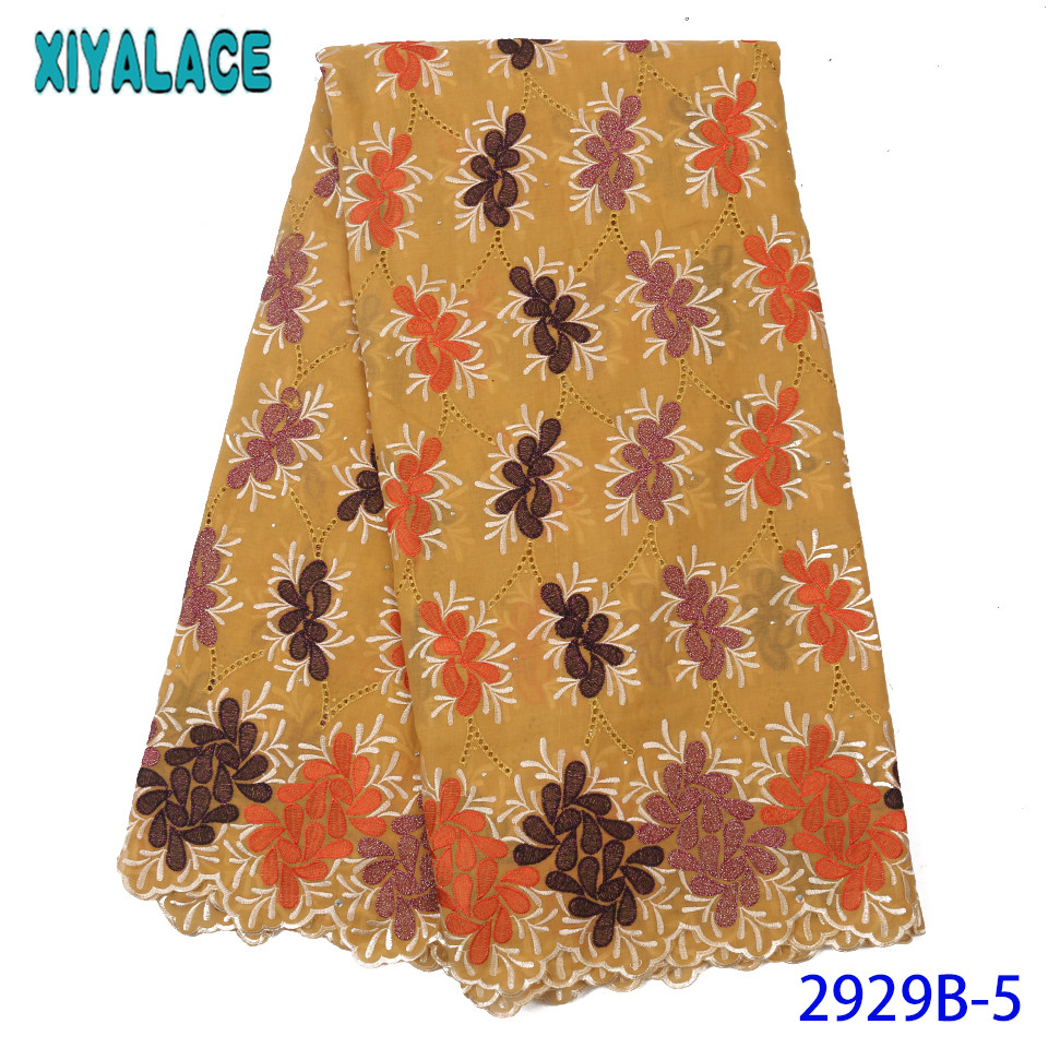 High Quality Swiss Lace Voile,African Lace Fabric 2019 Hot Sale Lace,Embroidery Cotton Lace Fabric With Stones KS2929B-5