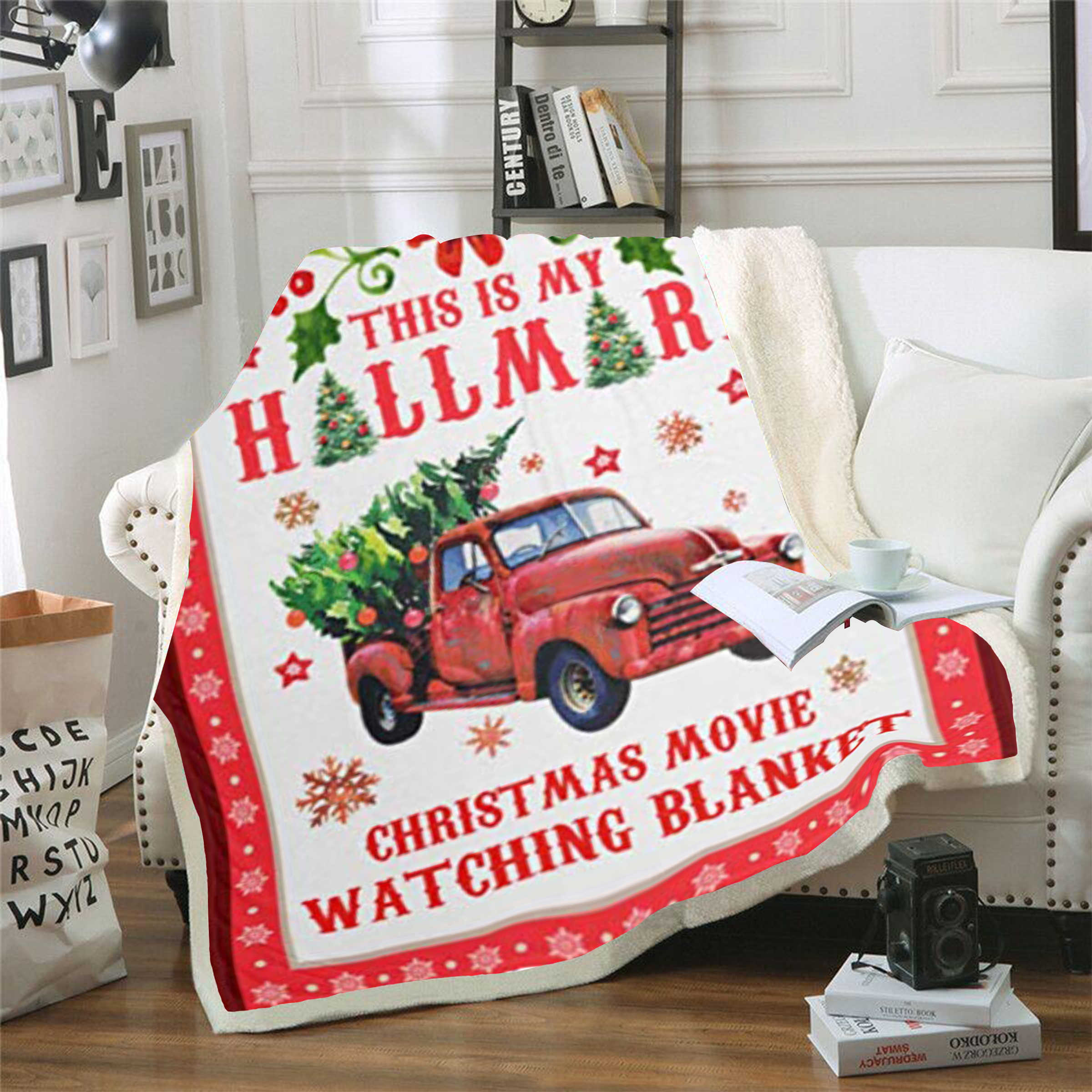 Christmas Watching Blanket Printed Sherpa Blanket Couch Travel Bedding Fleece Blanket Thick Tapestry Hallmark Movies Blanket