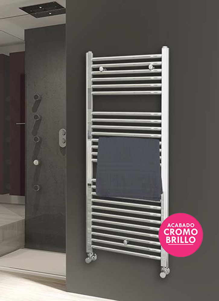 Kibath Towel Towel Rail Radiator For Hot Water Circuit, Steel Pipe Chrome Finish Brightness 1200x500