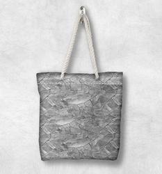Else, серая, белая, разбитая стена, камни, новая мода, белая, веревочная ручка, Холщовая Сумка, хлопок, холщовая, на молнии, сумка на плечо