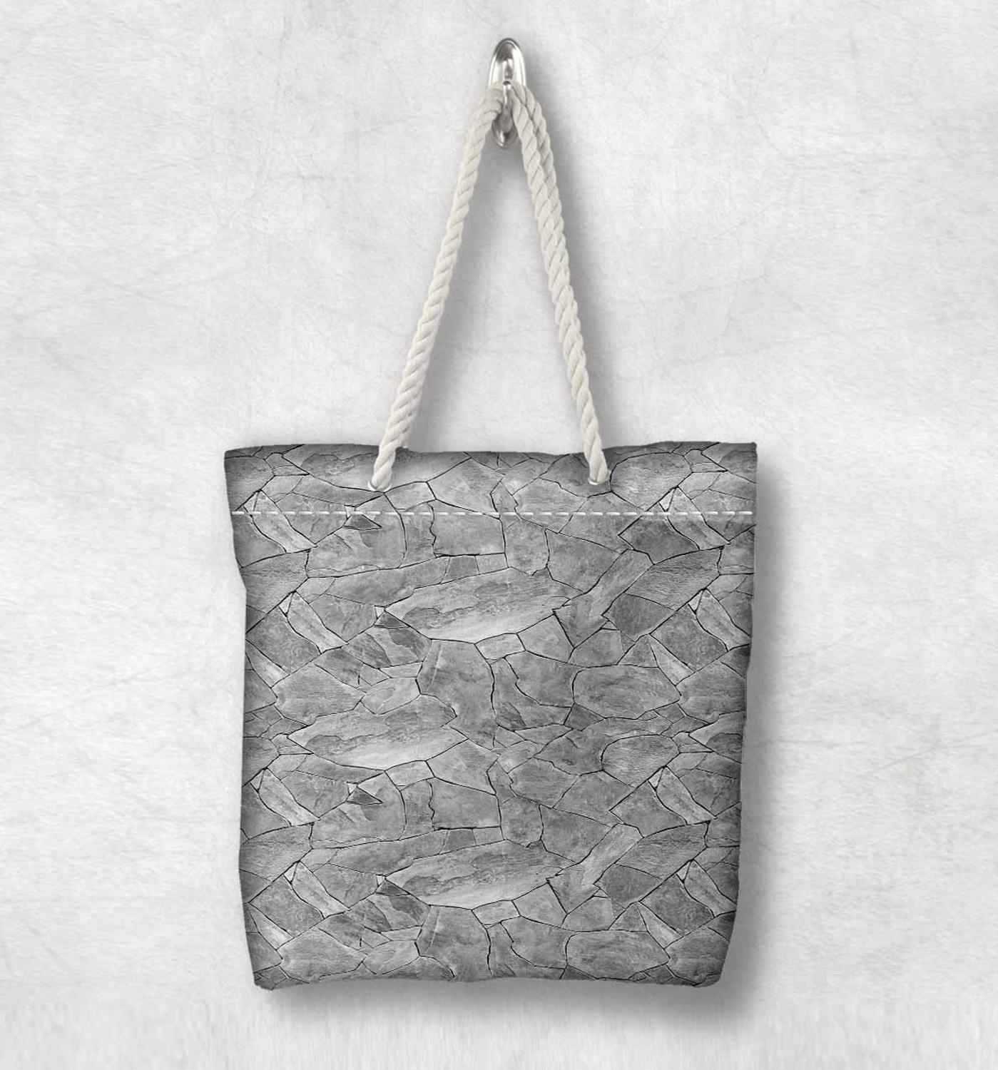 Else Gray White Broken Wall Stones New Fashion White Rope Handle Canvas Bag Cotton Canvas Zippered Tote Bag Shoulder Bag
